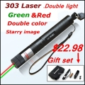 [ReadStar]RedStar 303 high 1W double color Laser pen red & green laser pointer laser set starry cap include battery and charger