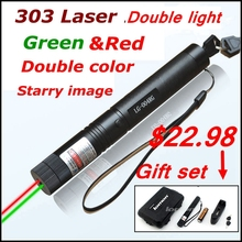 Cheap price [ReadStar]RedStar 303 high 1W double color Laser pen red & green laser pointer laser set starry cap include battery and charger