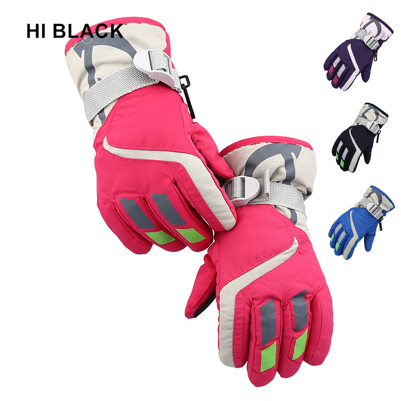 HI BLACK High Quality Winter Warm Ski Gloves Children Outdoor Snowboarding Sports Waterproof Windproof Snow Wrist Skiing Gloves
