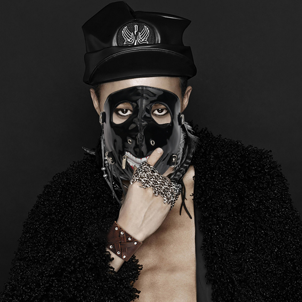 Punk Face Mask Hip-hop Halloween Party Leather Mask Motorcycle Masks Breathable Hip Hop Punk Leather Masks With Zipper
