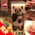 Lead-free glass cup panda design glass cup white souvenir cup milk cup