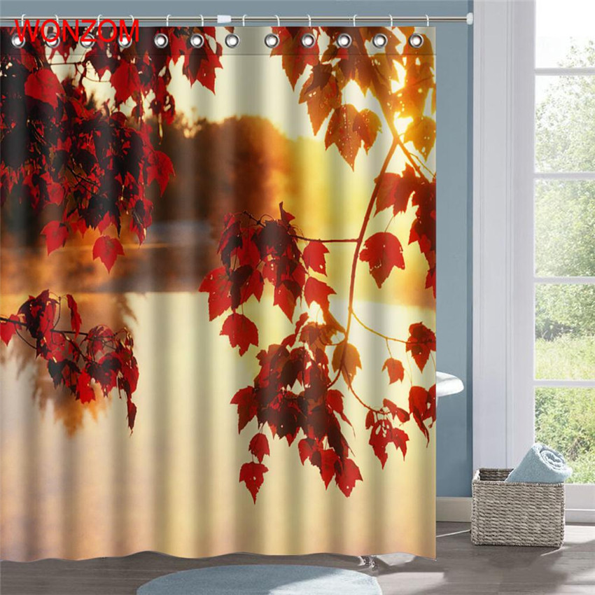 WONZOM Lake Maple Leaves Waterproof Shower Curtain Serenity Bathroom Decor Flower Decoration Cortina De Bano 2017 Bath Curtain