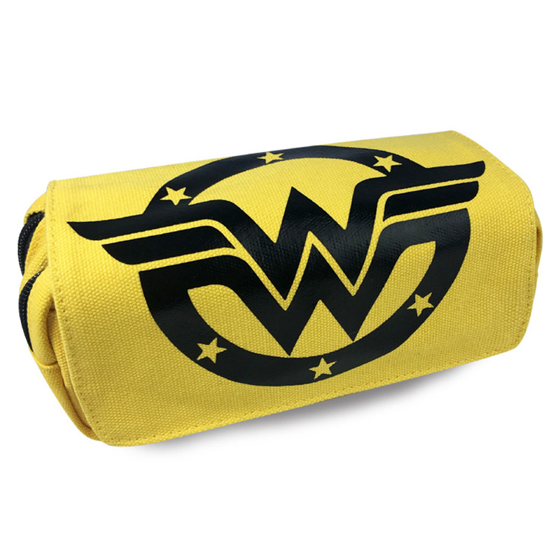 1pc/lot Wonder Hero Canvas Bags Women Double Zipper Pencil Bag Yellow Pencil Case Gifts For Kids Stationery School Supplies 20cm