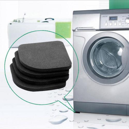 Black Washing Machine Pads Anti Noise Vibration Non Slip Walking Dryers 4Pcs Good protection for electrical appliances 1