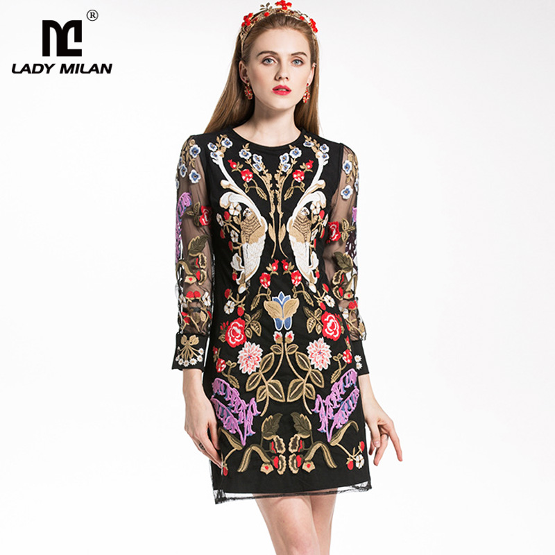New Arrival 2018 Womens O Neck Long Sleeves Embroidery Floral Elegant Designer Party Short Dresses