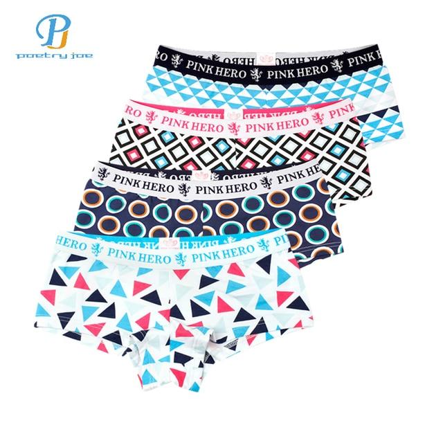 Pink Heroes 4pcs/lot Women Underwear Briefs Panties Gorgeous Color Printing Cotton Underwear Cute Underwear Women Panties String