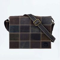 Crazy horse leather men bag vintage shoulder bag stitching leather casual personality male computer bag #0565