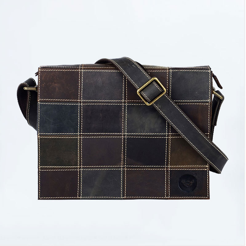 Crazy horse leather men bag vintage shoulder bag stitching leather casual personality male computer bag #0565 все цены