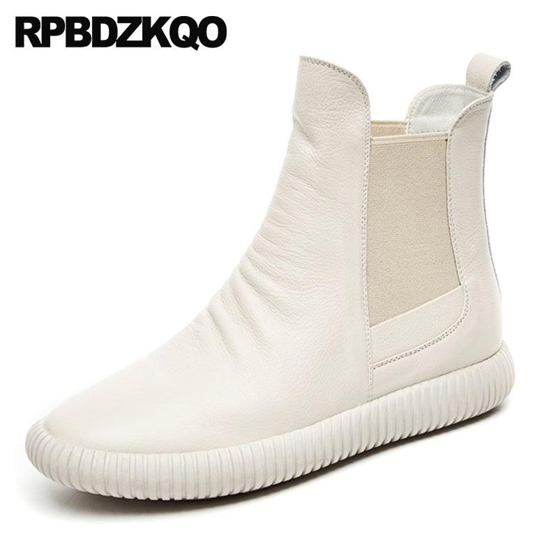 Glissement Luxe Marque Mode Sneakers Blanc Femmes Chaussons Chaussures Court Des Plat Bout Chelsea Européenne Beige noir De Sur Casual Rond Automne Bottes tZPdqwPn
