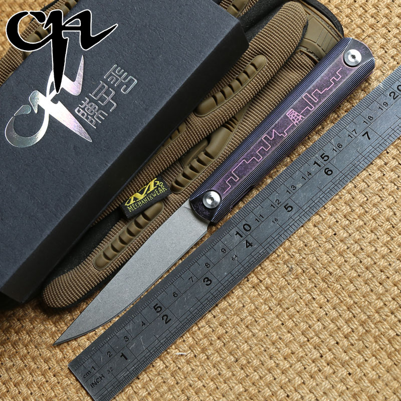 CH outdoor gear ZIEBA Tactical Folding knife Titanium handle ZDP189 blade KVT ball bearing hunt camping survival Knives EDC tool edc gear outdoor 6 slot design tool box with blade saw opener bar code sheet s carabiner