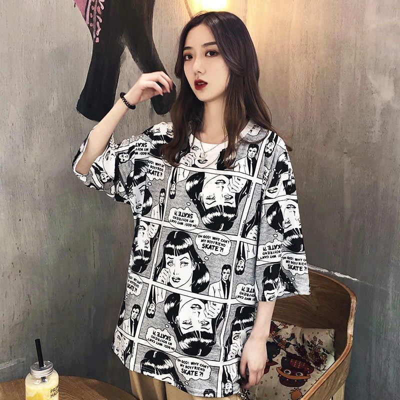 54e07ec08bc korean style summer big size T-shirt for Female Ulzzang cartoon Anime print T  Shirts