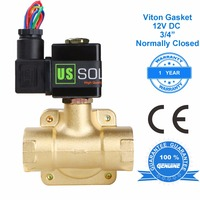 U.S. Solid 3/4 Brass Electric Solenoid Valve 12V DC Normally Closed Viton Gasket Air, water, Fuel, CE Certified