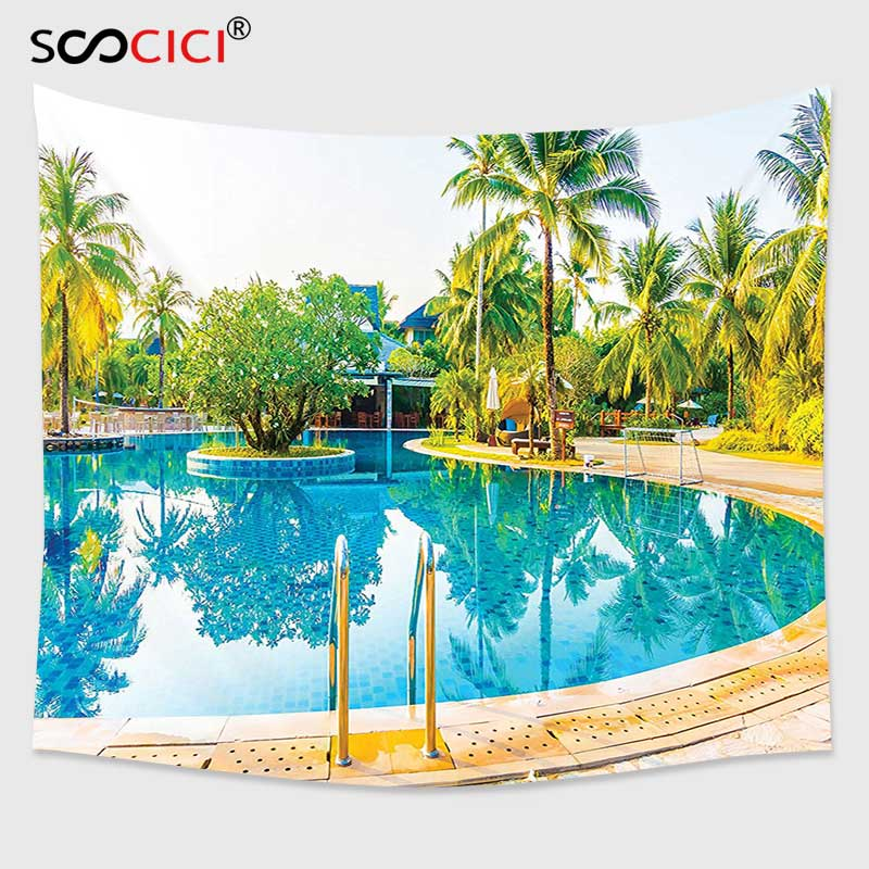 Cutom Tapestry Wall Hanging,House Decor Umbrella And Chair Around The Round Outdoor Pool Tourist Space Famous Spots Concept