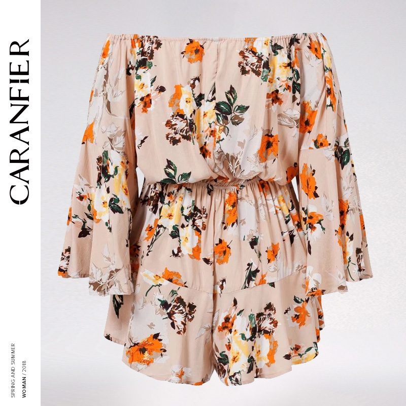 CARANFIER Beige Women Summer Beach Mini Bodysuits Off Shoulder Lace Up Boho Print Ruffle Sexy Girl Robe Femme 2018 Jumpsuits