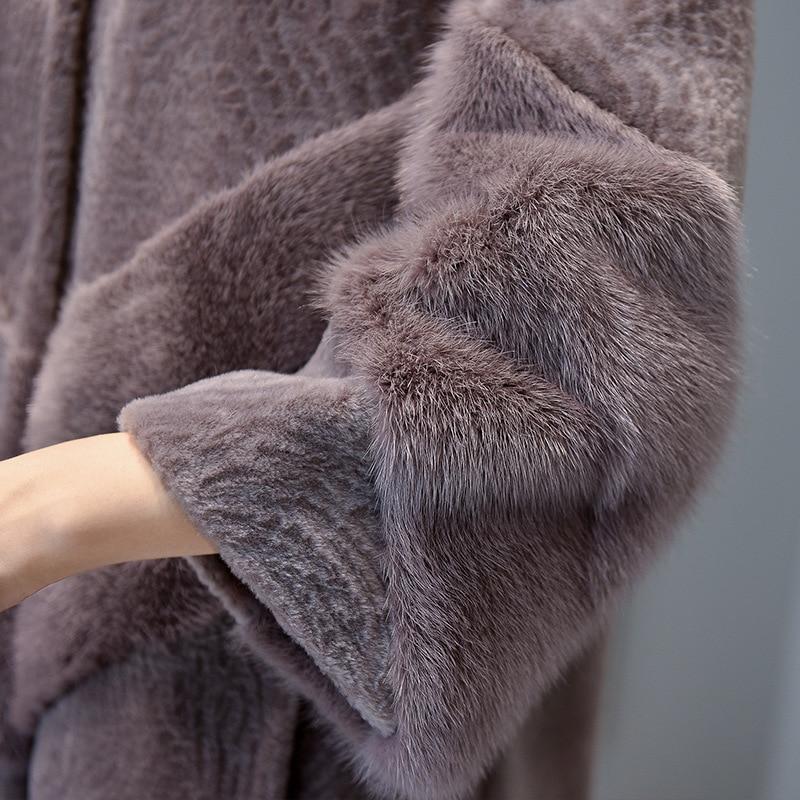 Fourrure De 100 Mauve Naturel pale Blue Vison Avec Réel Veste 2017 Le Dark Vêtements Tricoté Femmes Laine Lady Manteau Hiver 0qRzw18