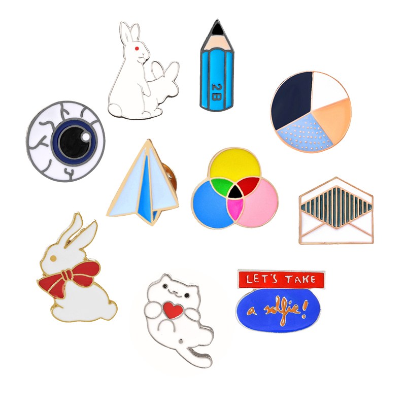 New Creative Cartoon Envelope Paper Airplane Rabbit Three-color Round Metal Enamel Brooch Jewelry Kid Gifts Denim Jackets Badge image