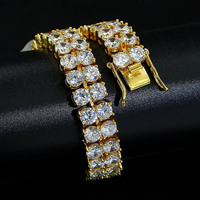 Men's Charm AAA Cubic Zirconia Double row Zircon Hip Hop Bracelet Gold/Silver Ice out chain Men's Gift Jewelry