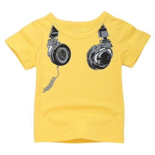 Boys Summer Clothes Polo Shirts Boy T-shirt Funny Baby Clothes Cartoon Headphone Print Children T-shirts Boy Casual Sport Tops new 2015 summer children t shirts baby clothes child 100