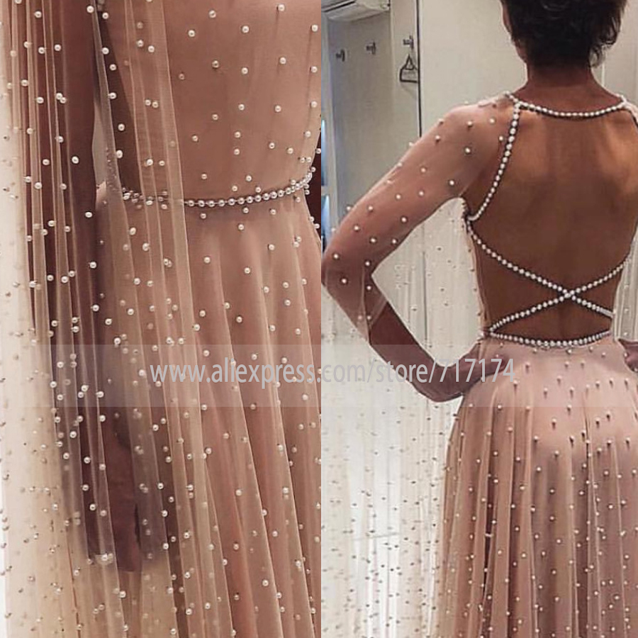 Long Prom A-line Halter Neckline Beading Straps Back Prom Dresses Pearls Crystals Saudi Arabia Evening Gowns Bridal Party Dress