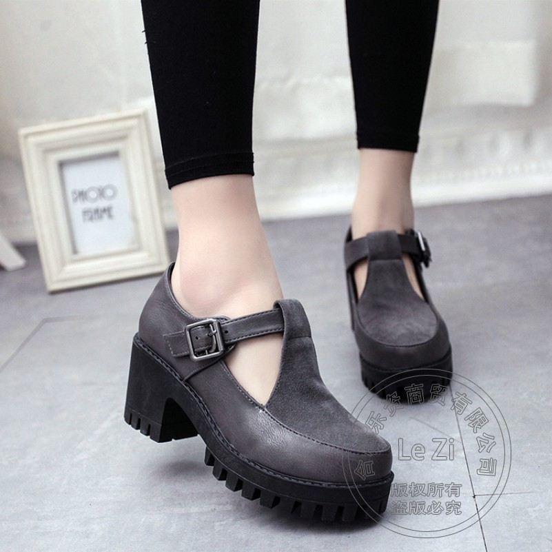 Low Cut Uppers For Lady Plain Cotton Fabric Novelty Round Toe Square Heel Vintage Shoes Simple