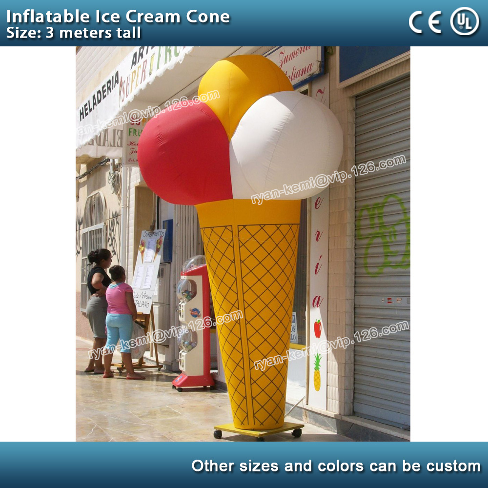 3m inflatable ice cream cone inflatable ice cream model with blower free shipping 3m inflatable ice cream with blower hot sale inflatable oxford nylon cloth model for inflatable toys