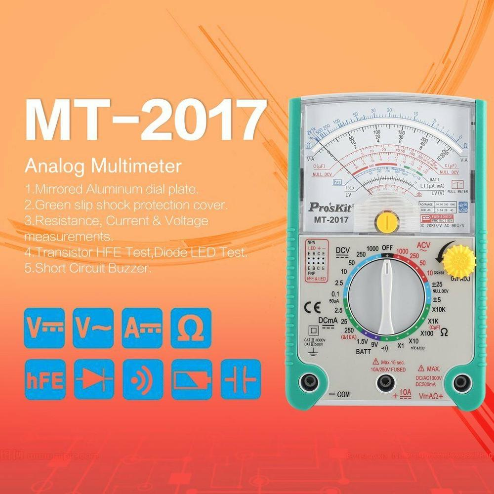 Original <font><b>2017</b></font> High Quality <font><b>Proskit</b></font> <font><b>MT</b></font>-<font><b>2017</b></font> AC/DC LCD Protective Function Analog Multimeter Free Shipping image