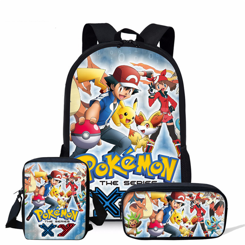 THIKIN Pokemon Pikachu Printing Children 39 s School Backpack for Boys Anime Kids Bags Teenagers Japanese 3pcs set School Bags in School Bags from Luggage amp Bags