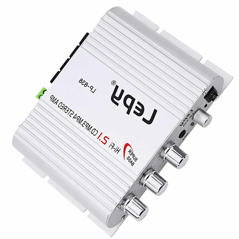 Стерео Бас Динамик DC 12 В 200 Вт mini-USB FM CD MP3 плеер 2,1 каналов автомобиля Hi-Fi цифровой усилитель LP838