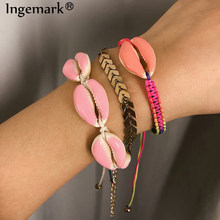 Ingemark Bohemian 3 Pcs/ Set Big Shell Bracelet Bangle Delicate Colorful Rope/Snake Chain Seashell Easy Match Bracelet for Women(China)
