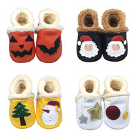 Cartoon Baby Shoes Newborn Winter Plush Lining Genuine Leather Baby Moccasins Slip On Soft Sole Infant First Walkers