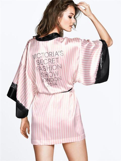 2016 Sexy segredo mulheres quimono roupão, Macio deslizamento de seda de cetim Robes para pijama festa, Rosa listrado Lace Robe / Sleepwear / Peignoire