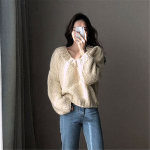 Image 5 - RUGOD Casual winter women clothes Fashion V neck long sleeve pullover sweater office lady pullovers jumper pull femme hiver