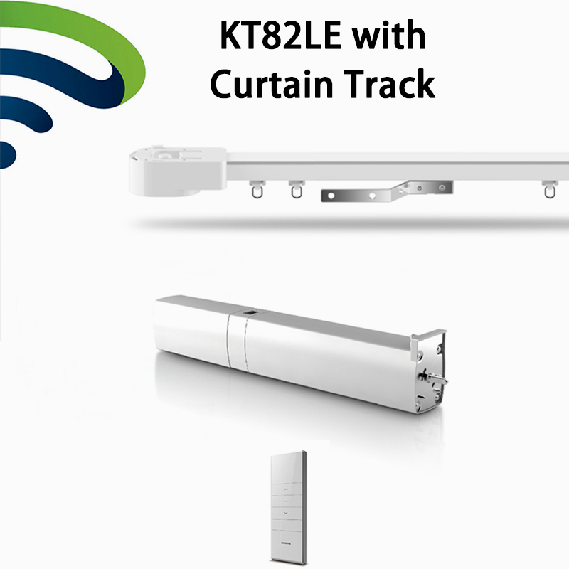 Ewelink Chargeable Motor KT82LE DC Automatic Curtain Motor+ Curtain Rail Track With DC2700 Remote Controller Light Touch Start