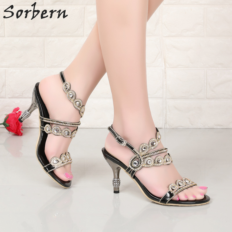 Sorbern Rhinestone Women Sandals Shoes Buckle Strap 8CM Heels Crystal Sandals Women Real Image Luxury Summer Party Shoes sorbern women sandals shoes real image pvc clear heels buckle strap 15cm heels crystal sandalias mujer 2018 summer shoes women