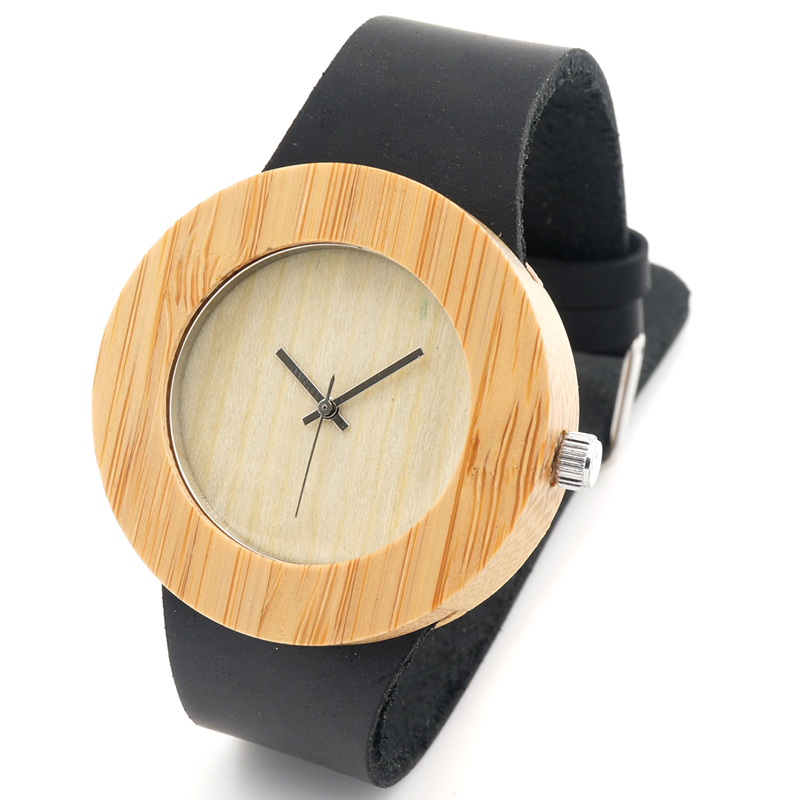 Fashion Natural Bamboo Wooden Men s Round Genuine Leather Watches Luxuly Women s Wristwatches as Great