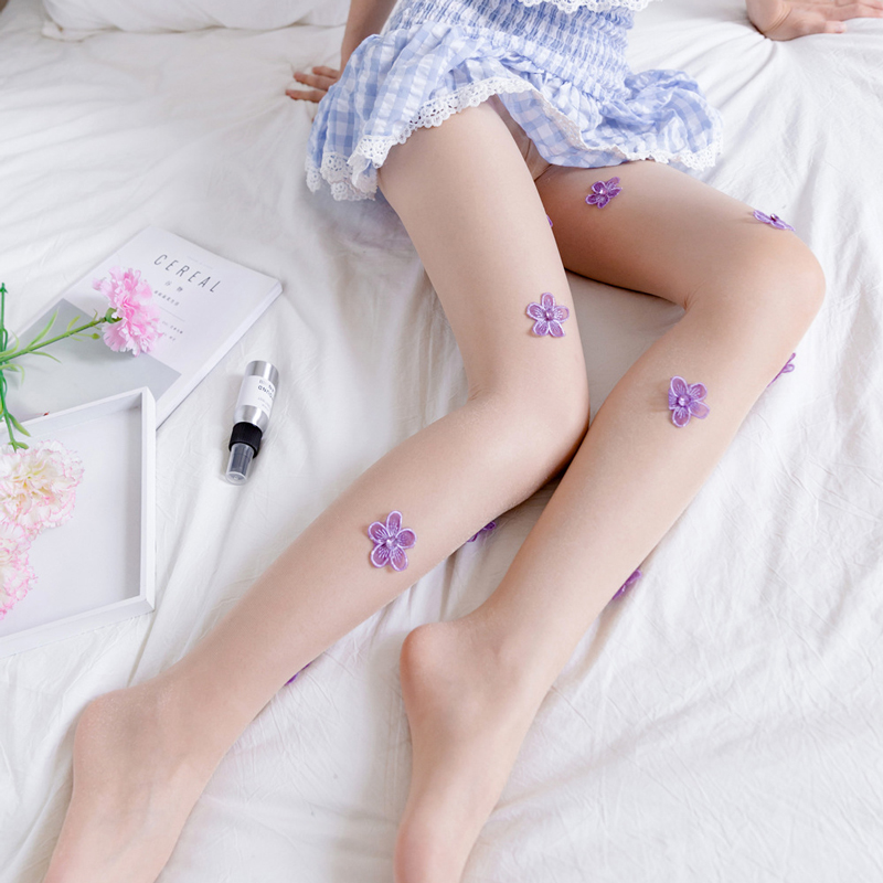 SP&CITY Purple Flower Handmade Summer Silk Stocking Sexy Pantyhose Women Transparent Thigts Floral Skin-friendly Thin Tight
