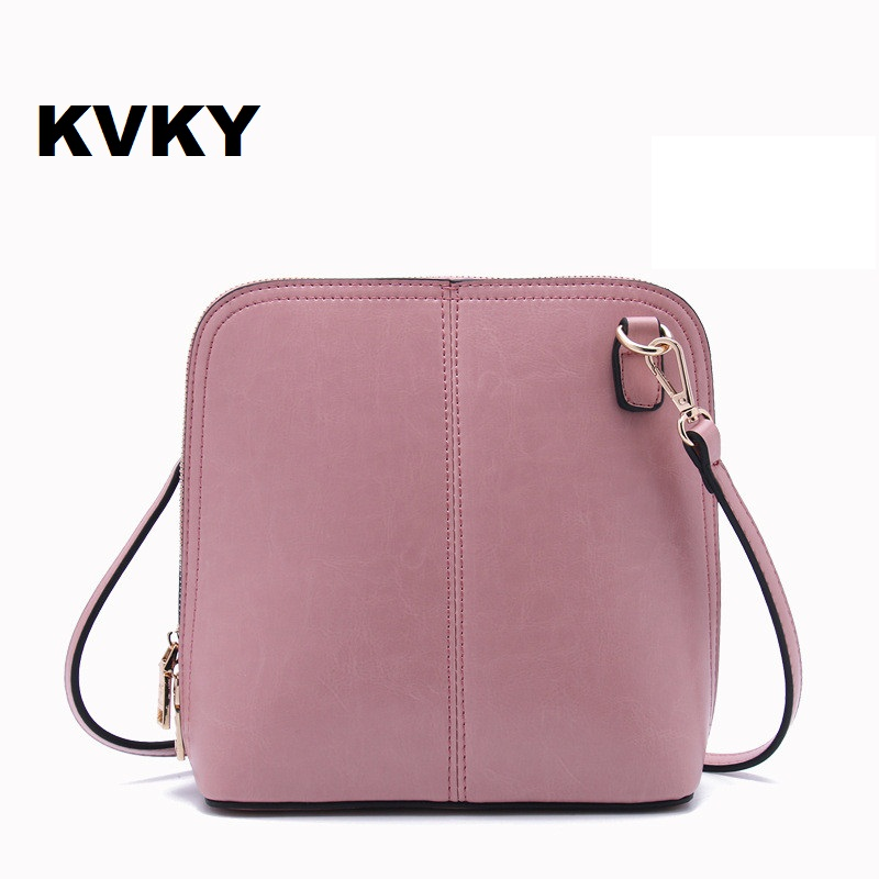 KVKY Factory Sale 2017 Genuine Leather Women shoulder bag pure solid Pattern Shoulder Bags women