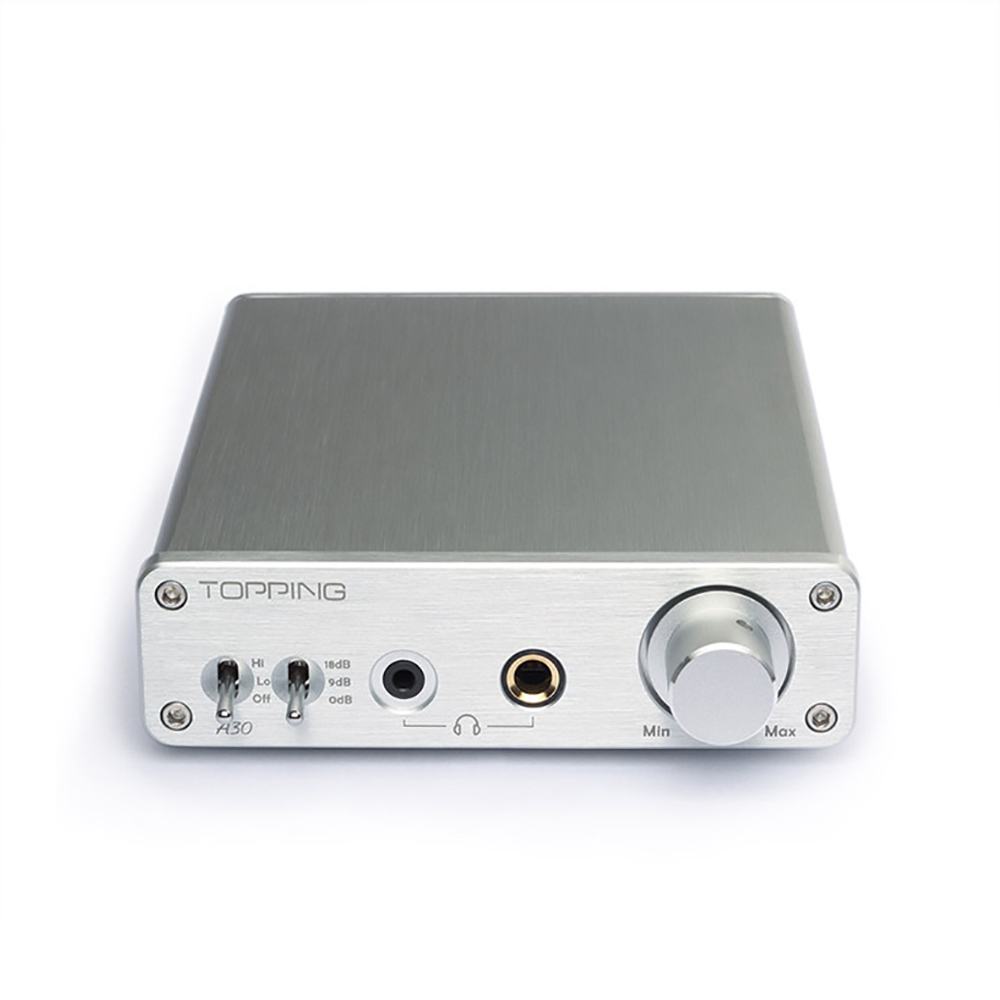 New Topping A30 Mini Amplifier TPA6120 110V/220V Stereo Audio HiFi Music Digital Power amp 3.5mm&6.35mm Headphone Output Silver original topping nx3 portable usb dac headphone amplifier hifi stereo audio amplifier amp tpa6120a2 black silver amplificador