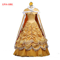 2017 Beauty And The Beast Adult Princess Belle Costume Princess Cosplay Dress With Cloak