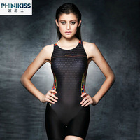2015 New Black Competition One Piece Suit Pad Knee Length Women S Training Racing Swimwear One