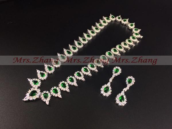 2015 новинка италия Роско изумруд зеленый капли воды циркон ожерелье серьги комплект, Уэйд платье невесты комплект ювелирных изделий, zh15050