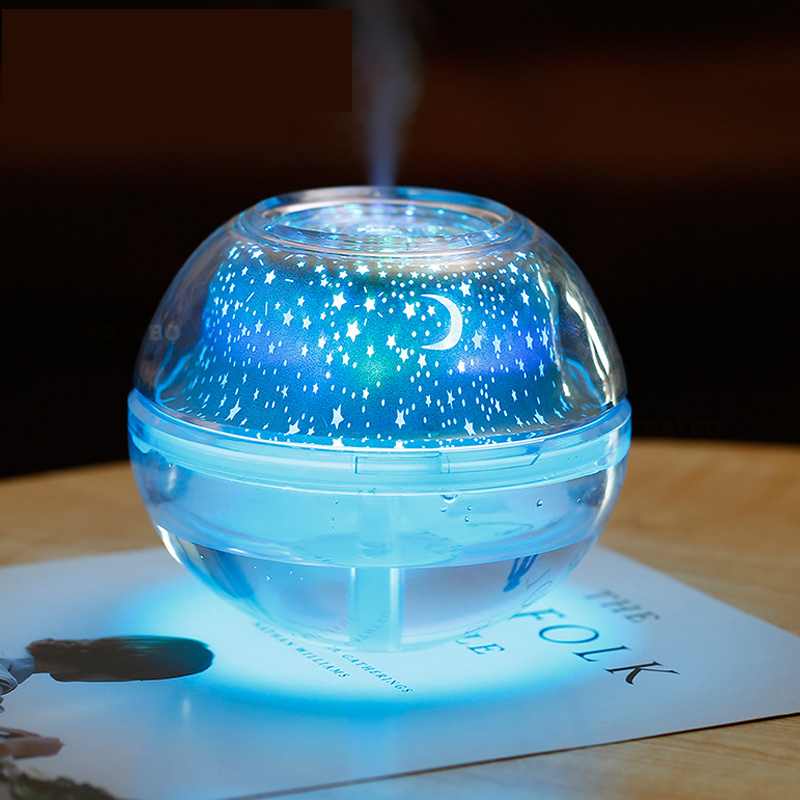 Crystal Night Lamp LED Light Star Sky Decorative Colourful Blub Projector For Home Office 500ml Air Humidfier USB Desktop Mist