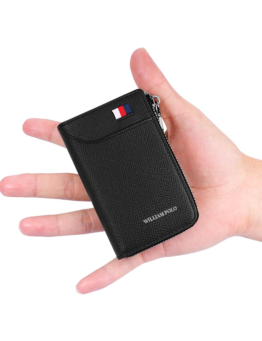 WilliamPOLO Men Wallet Accordion Credit Card Holder Genuine Leather Small Multi Card Case Organizer Zipper Claret Black Blue