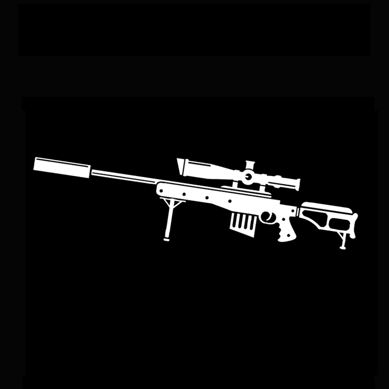 18.5*5.2CM Interesting Weapons Sniper Rifle Gun Graphic Vinyl Car Sticker Black White Motorcycle Exterior Accessories(China)
