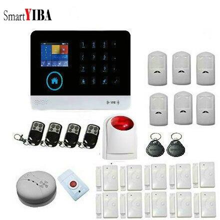 SmartYIBA système d'alarme de sécurité sans fil GSM WIFI pour la maison et les affaires Kits de systèmes d'alarme intelligents bricolage avec capteur de fumée bouton panique