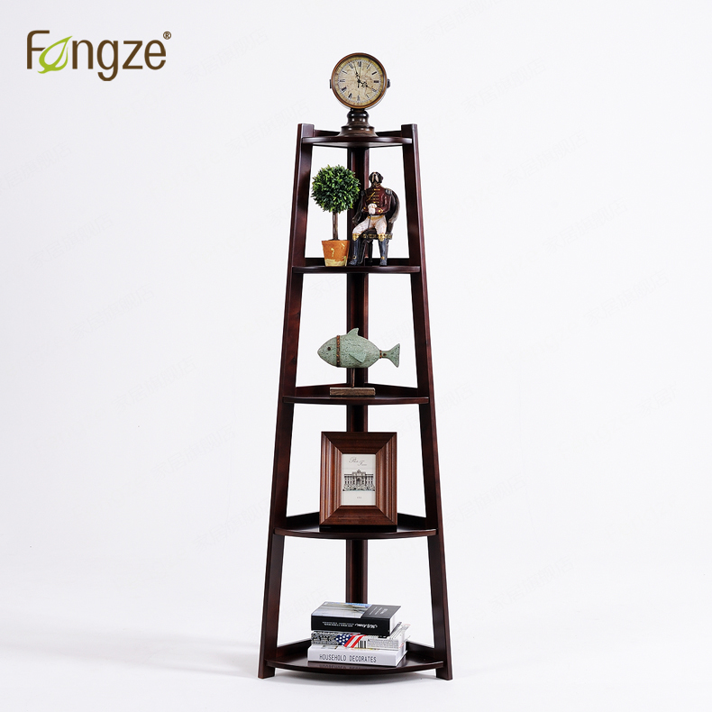 FengZe FZ601 Modern Solid Wood 5Tiers Corner Bookcase Storage Multifunction Solid Wood Flower Rack Standing Plants Display Cabin fengze furnishing fz821 modern solid wood shoes storage multifunction solid wood flower rack standing plants display cabine
