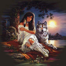 Full SquareRound Drill 5D DIY Diamond Painting girl & wolf 3D Embroidery Cross Stitch Mosaic Decor Gift NMX(China)