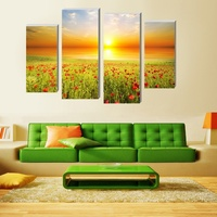 4 Panel Modern Printed Flower Oil Painting Cuadros Decoration Landscape Art Wall Pictures For Living Room