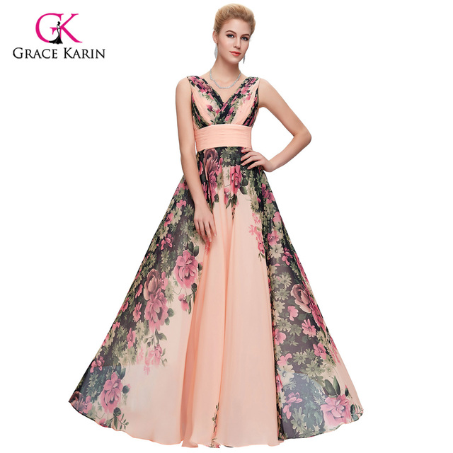 Long Evening Dresses Plus size Grace Karin abendkleider 2018 elegant Flower  print Chiffon formal evening gowns robe de soiree d7d5fd396532