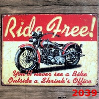 RIDE FREE Motorcycle large vintage license plate Metal signs home decor Office Restaurant Bar Metal Painting art 40x30 CM